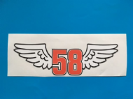 MARCO SIMONCELLI winged 58 sticker/decal x 2